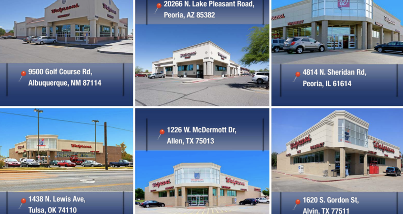 Just Closed! 6  Store Walgreens Portfolio, Price: $24,000,000, Absolute NNN Fee Simple Leases, Loan Assumption Completed in 90 Days!